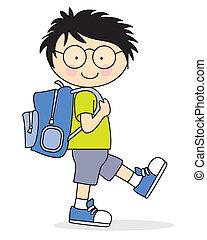 escuela, va, niño