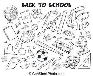 escuela, vector, colección, objetos