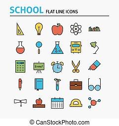 escuela, y, educación, colorido, línea plana, iconos, conjunto