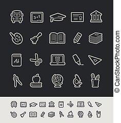 escuela, y, educación, iconos