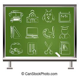 escuela, y, educación, objetos