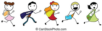 escuela, yendo, niños, caricatura, palo
