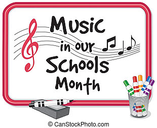 escuelas, nuestro, música, mes