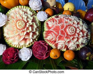 esculpido, fruta