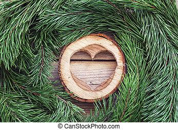 esculpido, madeira, coração, e, árvore pinho, ramos, ligado, antigas, madeira, board., lugar, para, text.