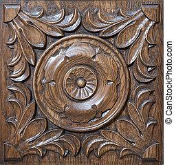 esculpido, padrão, ligado, madeira