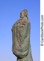 escultura, antiguo, maestro, confucionismo, chino