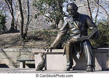 escultura, de, hans, cristiano, andersen, en, el, parque central