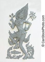 escultura, de, tailandês, anjo