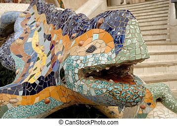 escultura, de, um, dragão, parque, guell, barcelona, espanha