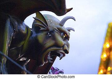 escultura, diablo, isla, coney, dante's, infierno