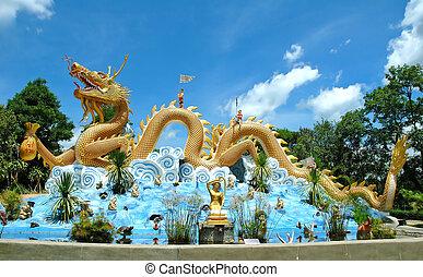 escultura, dragón