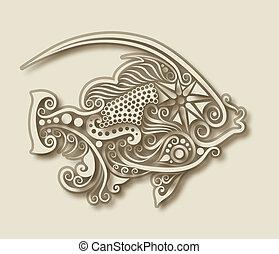 escultura, pez, animal