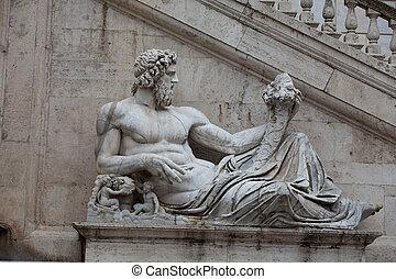 escultura, roma, -, río, capitolium, tiber, planeó, ...