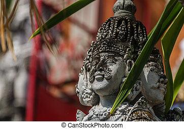 escultura, templo, cuádruple, cara