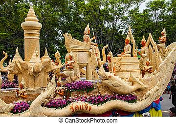 escultura, un, grande, vela, tailandés, forma de arte, de,...