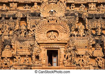 esculturas, vimana, thanjavur, brihadishvara, cierre, templo, tamil nadu, vista
