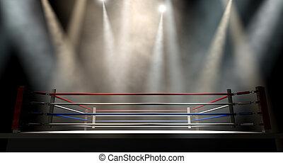 escuro, anel, boxe, spotlit