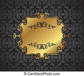 escuro, armação quadro, real, ouro