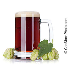 escuro, assalte, cerveja, ramo, pulo