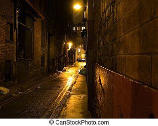 escuro, assustador, alleyway, noturna