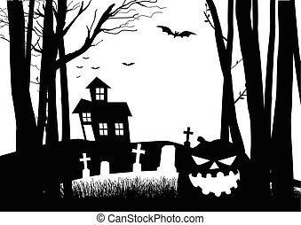 escuro, assustador, madeiras, cemitério, casa