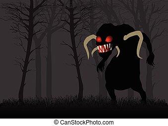 escuro, assustador, madeiras, monstro