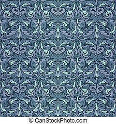 escuro azul, barroco, padrão