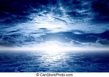 escuro azul, céu