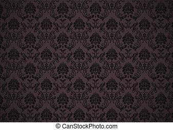 escuro, barroco, papel parede, textura