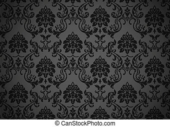 escuro, barroco, papel parede, vetorial