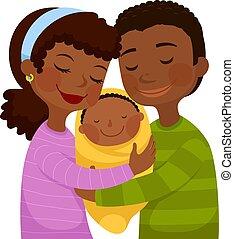 escuro, bebê, esfolado, pais