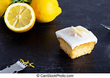 escuro, bolo, indivíduo, limão, fundo