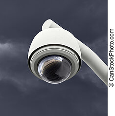 escuro, câmera segurança, céu, thunderstorm