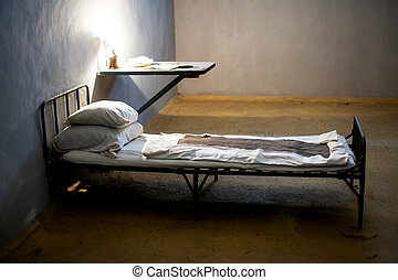escuro, célula, cama, prisão