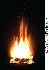 escuro, campfire