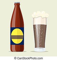 escuro, cerveja, copo., robusto, garrafa