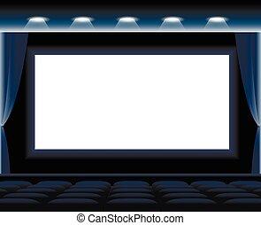 escuro, corredor, cinema