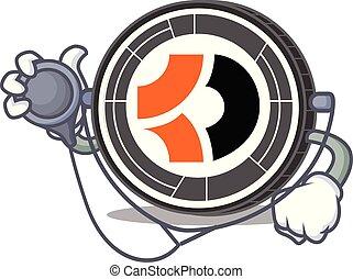 escuro, doutor, personagem, caricatura, bitcoin