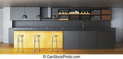 escuro, elegante, interior, cozinha