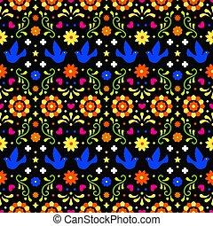 escuro, elementos, arte, tradicional, coloridos, mexico., padrão, folhas, ornament., fiesta, seamless, flores, experiência., desenho, folclore, ornate, floral, mexicano, partido., pássaros, povo