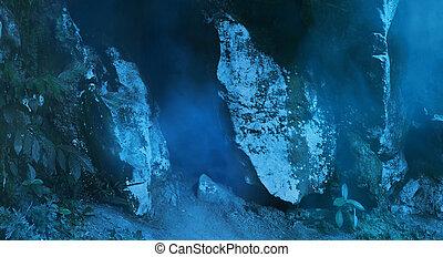 escuro, entrada, caverna