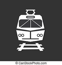 escuro, estrada ferro, isolado, fundo, ícone