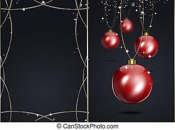 escuro, feriado, xmas, cartão