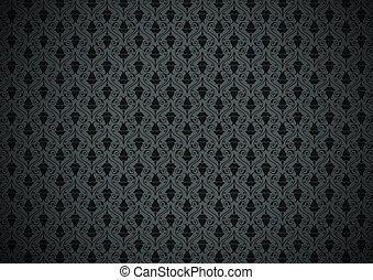 escuro, floral, papel parede