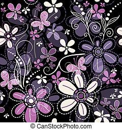 escuro, floral, repetindo, padrão