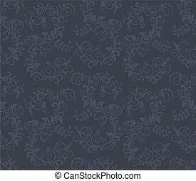 escuro, floral, seamless, cinzento, padrão