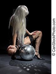 escuro, glitterball, dança