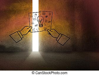 escuro, gráfico, sala, idéia