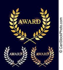 escuro, grinalda, folha, símbolo, vencedor, bronze, isolado, ilustração, victory., etiqueta, distinção, fundo, laurel, prata, dourado